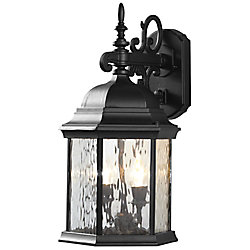 Hampton Bay 12W 2-Light Matte Black LED Outdoor Wall Lantern with Water Glass Panels