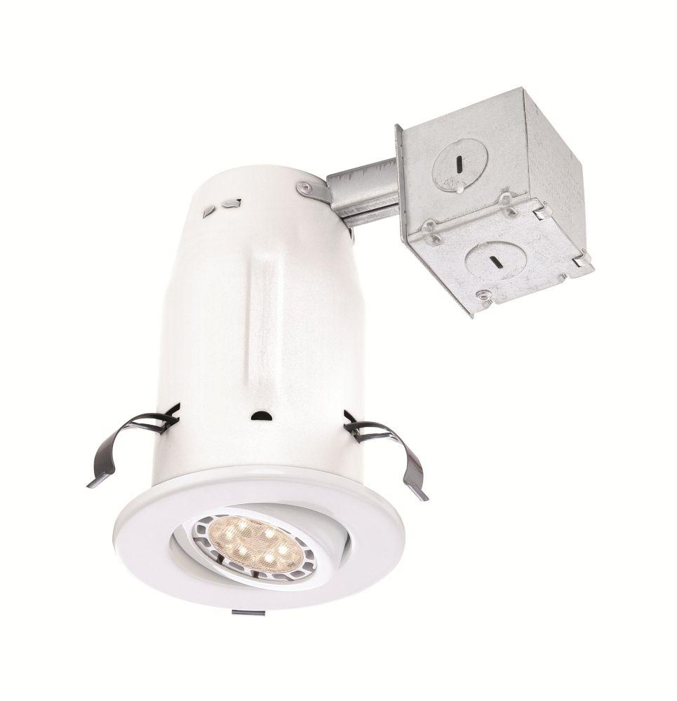 Ensemble d'éclairage encastré DEL  de 3 po à cardan blanc pour plafond non isolé