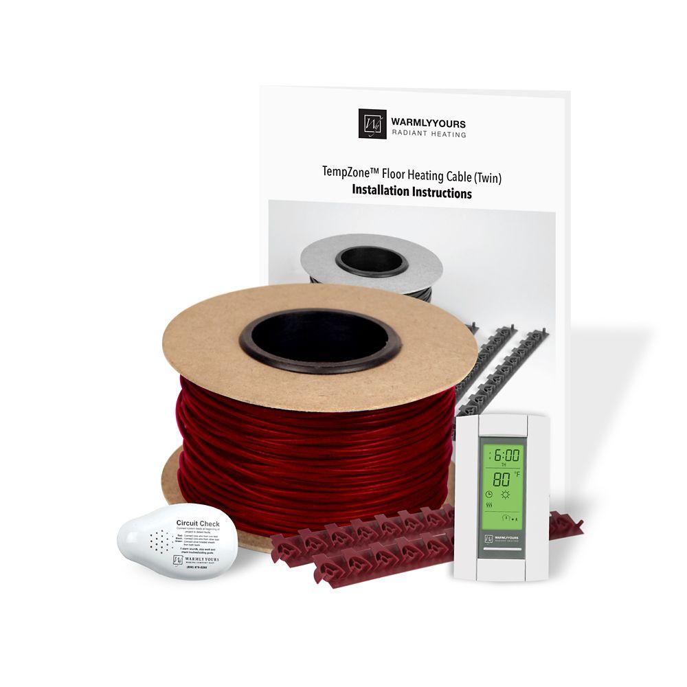 Kit de chauffage de sol WarmlyYours en câble avec thermostat programmable, 240 Volts, 133 Pieds c...