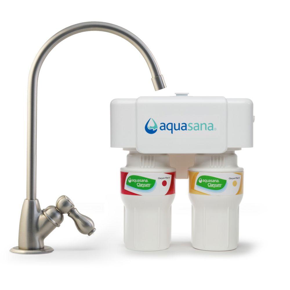 Filtre à eau potable sous le comptoir en 2étapes - nickel brossé