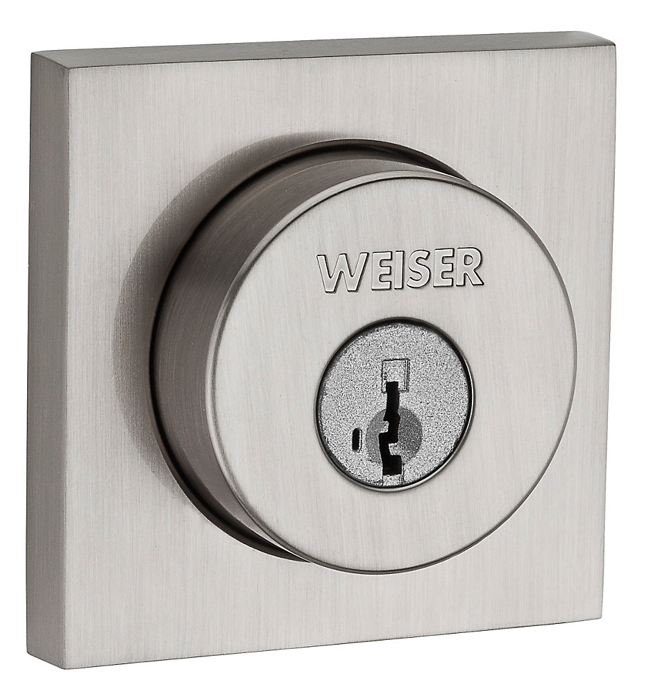 Welcome Home Satin Nickel Square Deadbolt