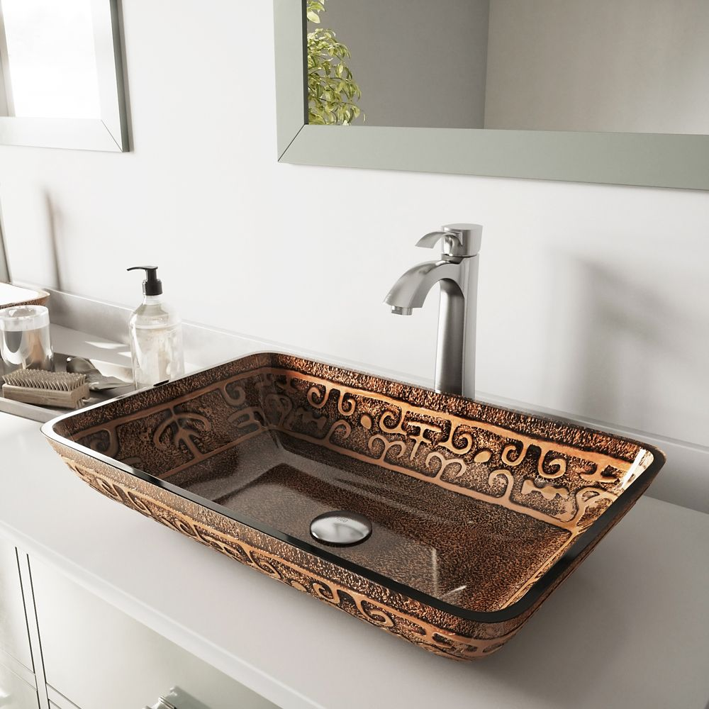 Glass Vessel Sink in Rectangular Golden Greek with Otis Faucet in Brushed Nickel