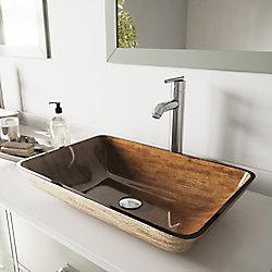 VIGO Rectangular Glass Vessel Bathroom Sink in Amber Sunset with Faucet Set in Brushed Nickel