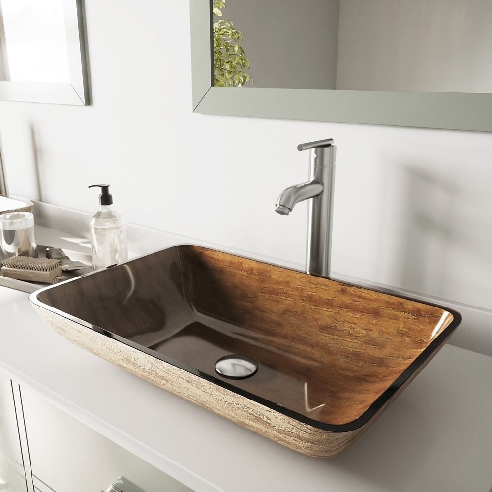 Glass Vessel Sink in Rectangular Amber Sunin with Faucet in Brushed Nickel