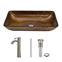 VIGO Glass Vessel Sink in Rectangular Amber Sunin with Otis Faucet in Brushed Nickel