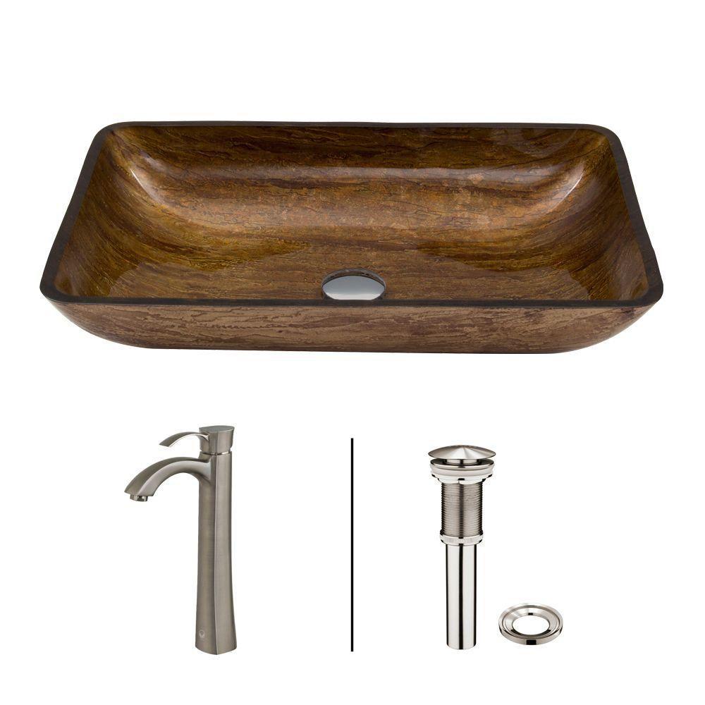 Glass Vessel Sink in Rectangular Amber Sunin with Otis Faucet in Brushed Nickel