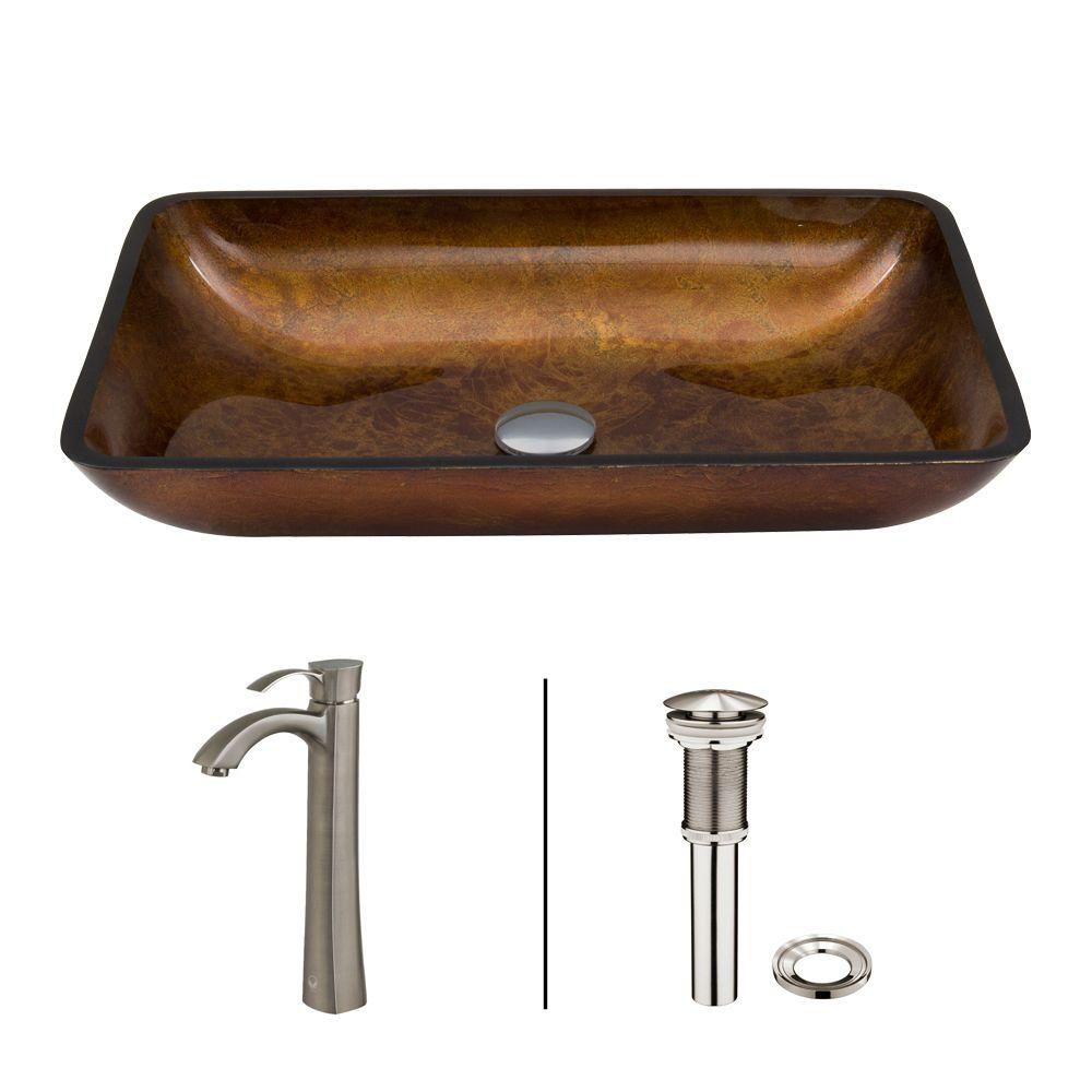 Glass Vessel Sink in Rectangular Rusin with Otis Faucet in Brushed Nickel