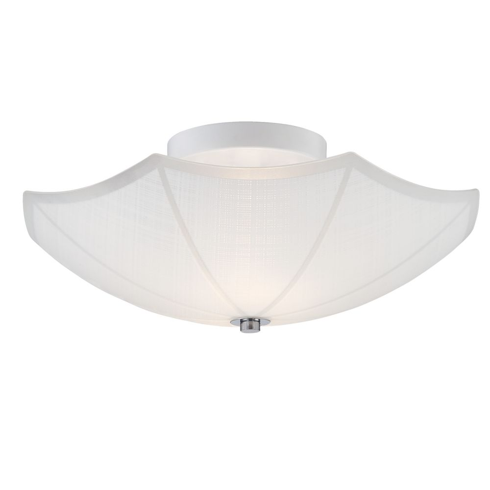 Hampton Bay 14-inch 2-Light Semi-Flushmount Light Fixture in White with Chrome Accents