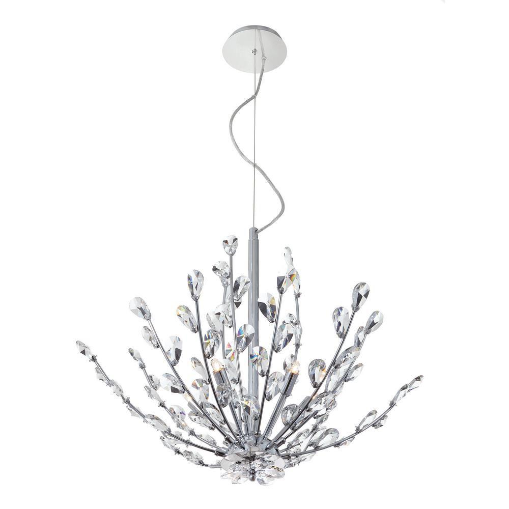 Luminaire suspendu en cristal à 5 ampoules, Collection Hetcherson
