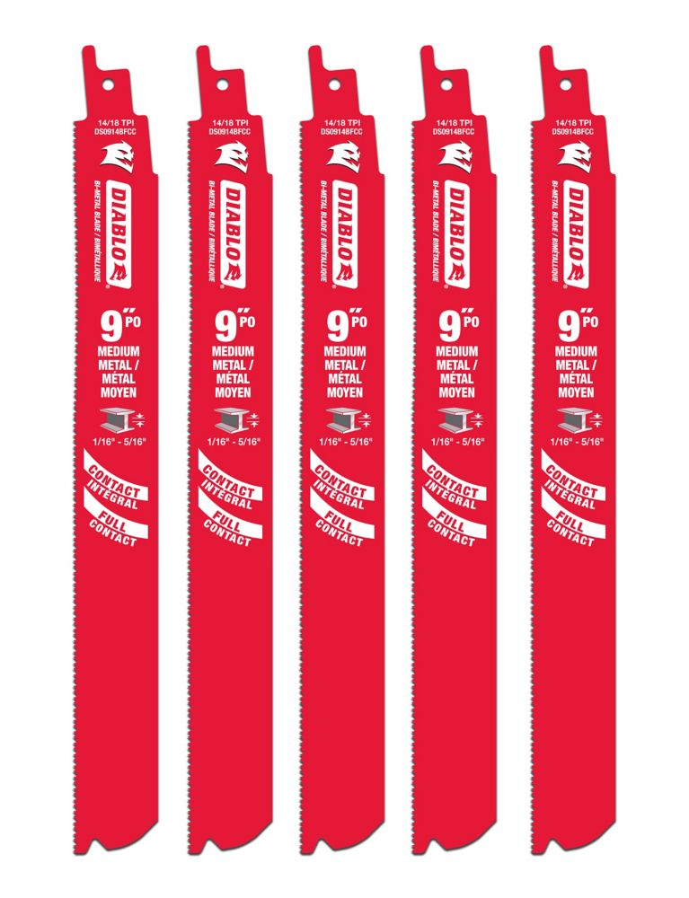 9 Inch Next Generation Steel Demon Recip For Thin Metals - 5pk