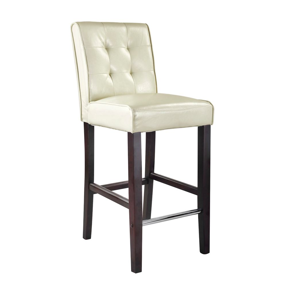Corliving Antonio Bar Height Barstool In Cream White Bonded Leather
