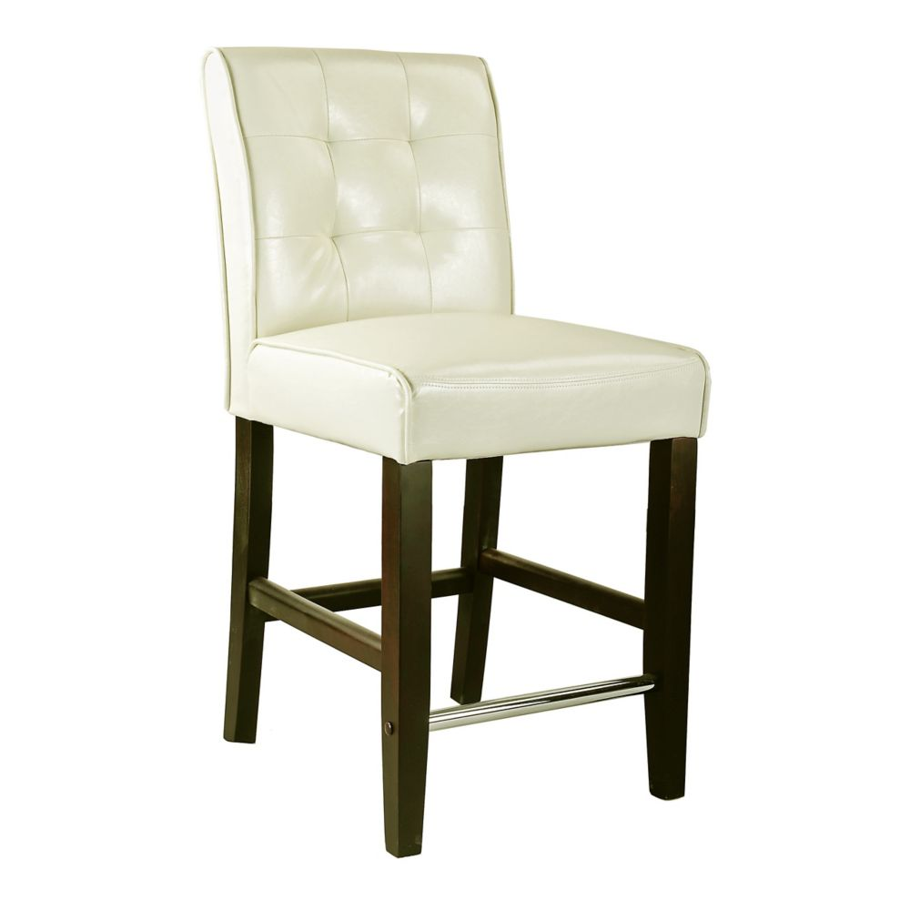 Corliving Antonio Solid Wood Brown Contemporary Low Back Armless Bar Stool with White Faux Leather Seat