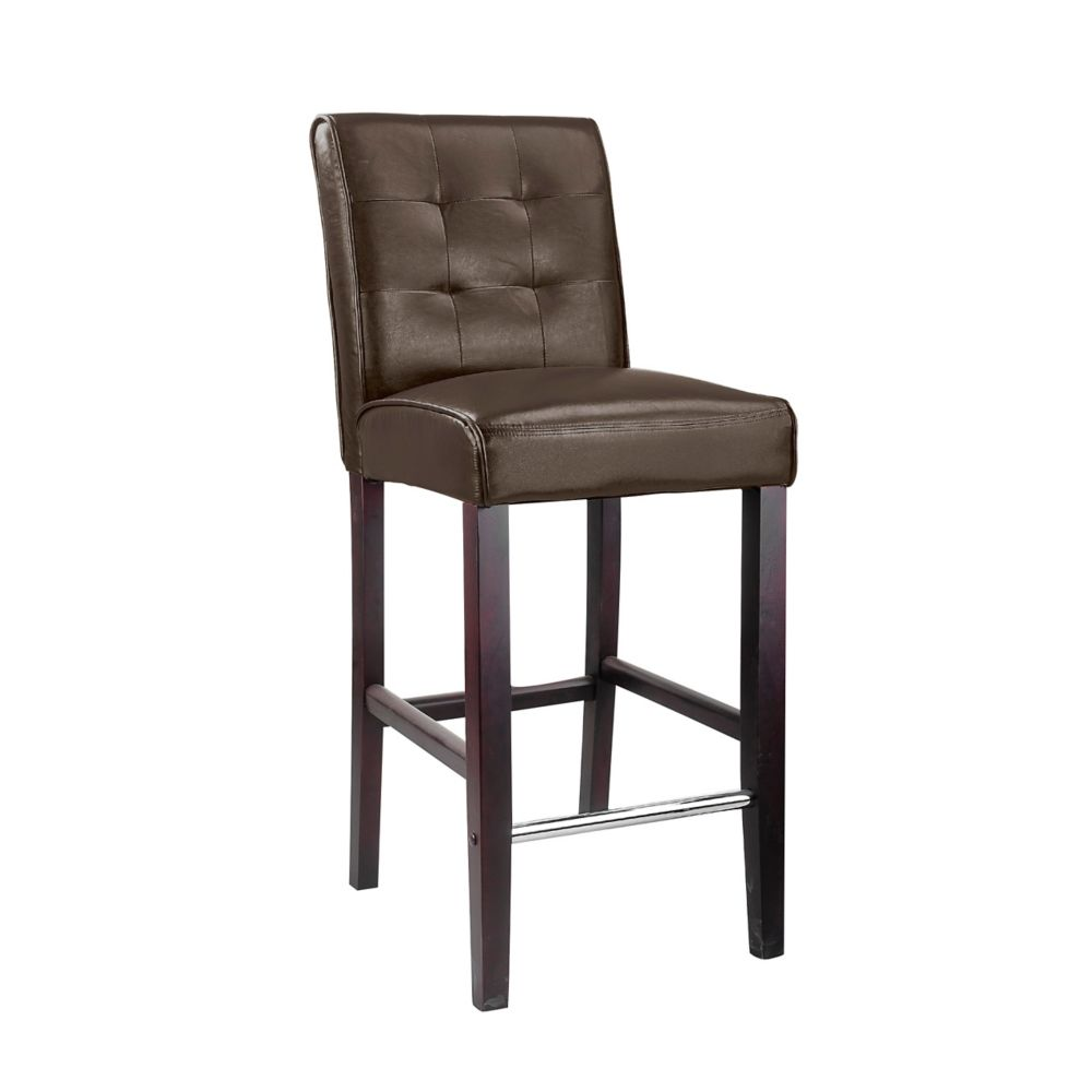Antonio Bar Height Barstool In Dark Brown Bonder Leather