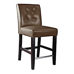Corliving Antonio Solid Wood Brown Contemporary Low Back Armless Bar Stool with Brown Faux Leather Seat