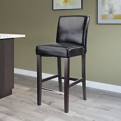 Corliving Antonio Metal Brown Contemporary Low Back Armless Bar Stool with Black Faux Leather Seat