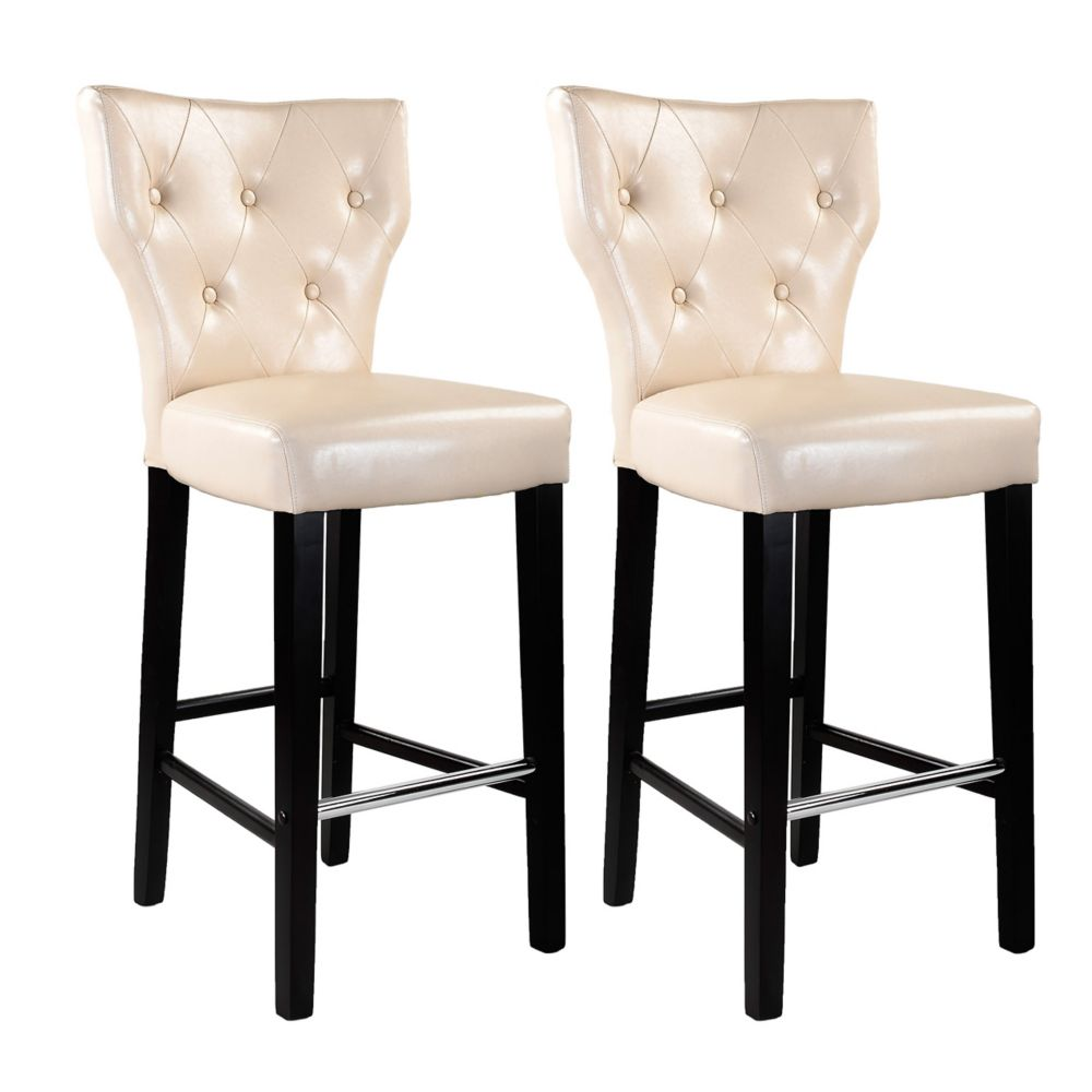 Kings Bar Height Barstool In Cream Bonded Leather, Set Of 2
