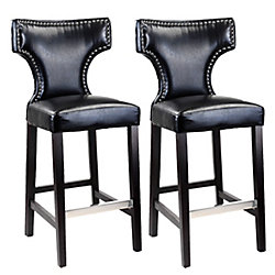 Corliving Kings Metal Brown Contemporary Low Back Armless Bar Stool with Black Seat - (Set of 2)