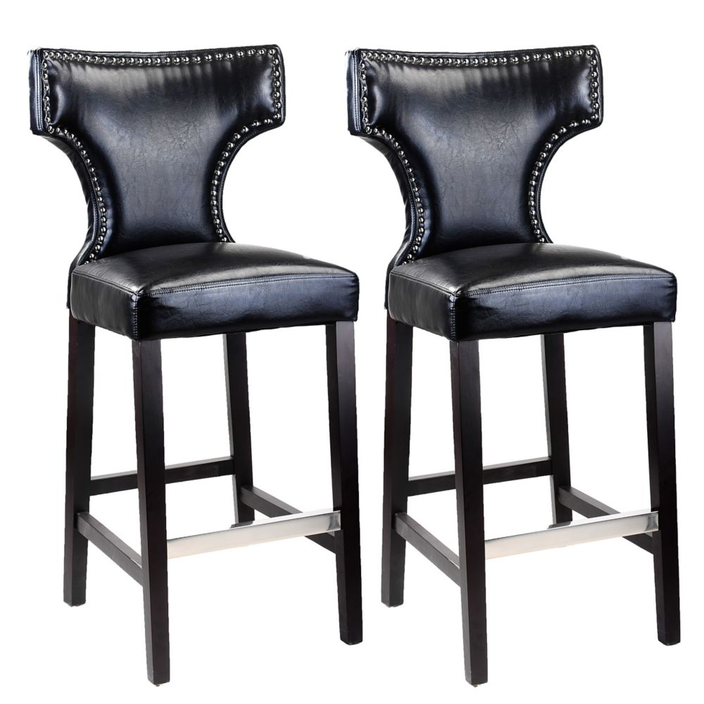 Kings Bar Height Barstool In Black With Metal Studs, Set Of 2
