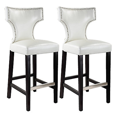Kings Metal Brown Contemporary Low Back Armless Bar Stool With White Faux Leather Seat Set Of 2