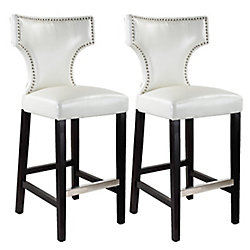 Corliving Kings Metal Brown Contemporary Low Back Armless Bar Stool with White Faux Leather Seat - (Set of 2)