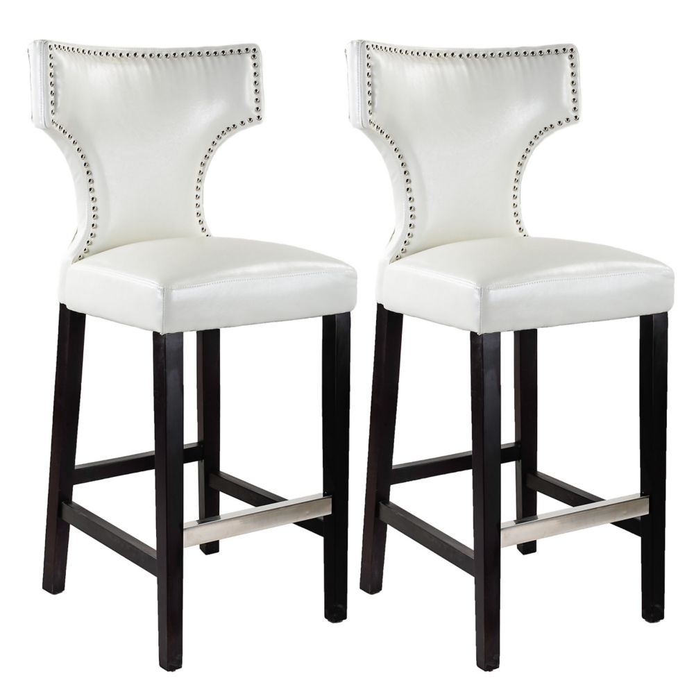 Kings Bar Height Barstool In White With Metal Studs, Set Of 2