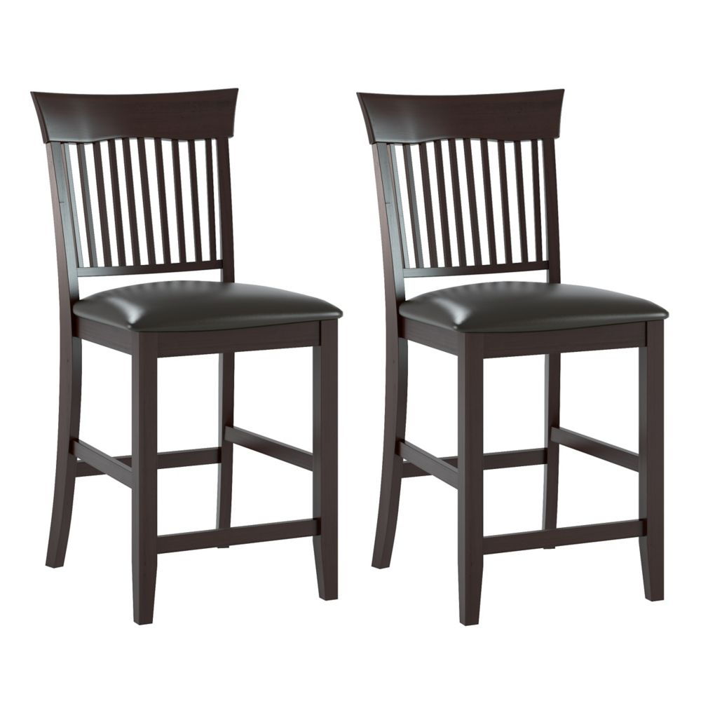 Bistro Dining Chairs In Chocolate Black Bonded Leather, Set Of 2 DKR-308-C Canada Discount