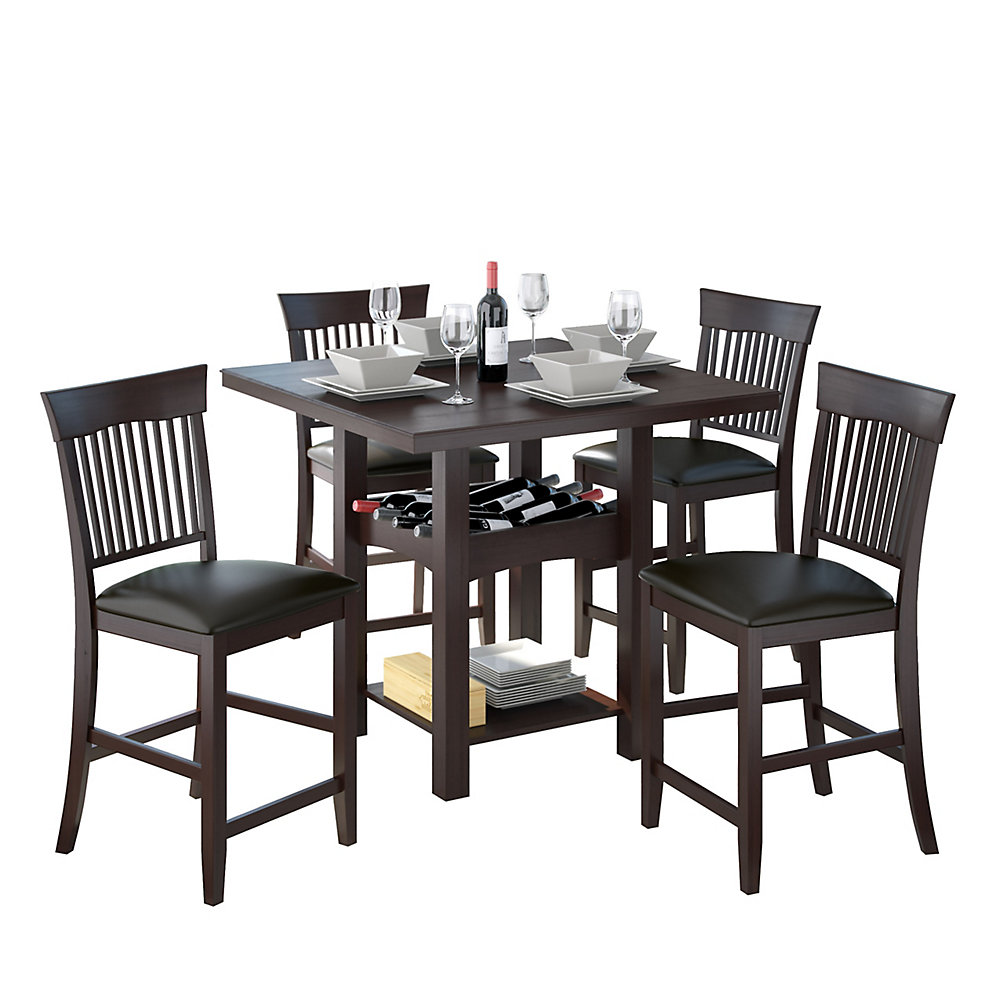 Bistro 5-Piece 36 Inch Tall Dark Cocoa Dining Set With Wine Rack - Chocolate Black Leather