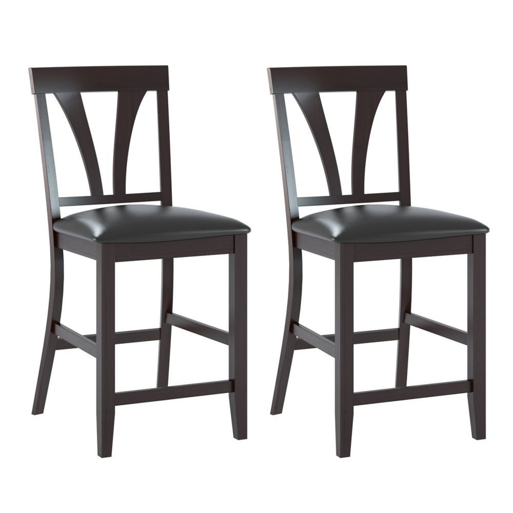 Bistro Dining Chairs In Chocolate Black Bonded Leather, Set Of 2