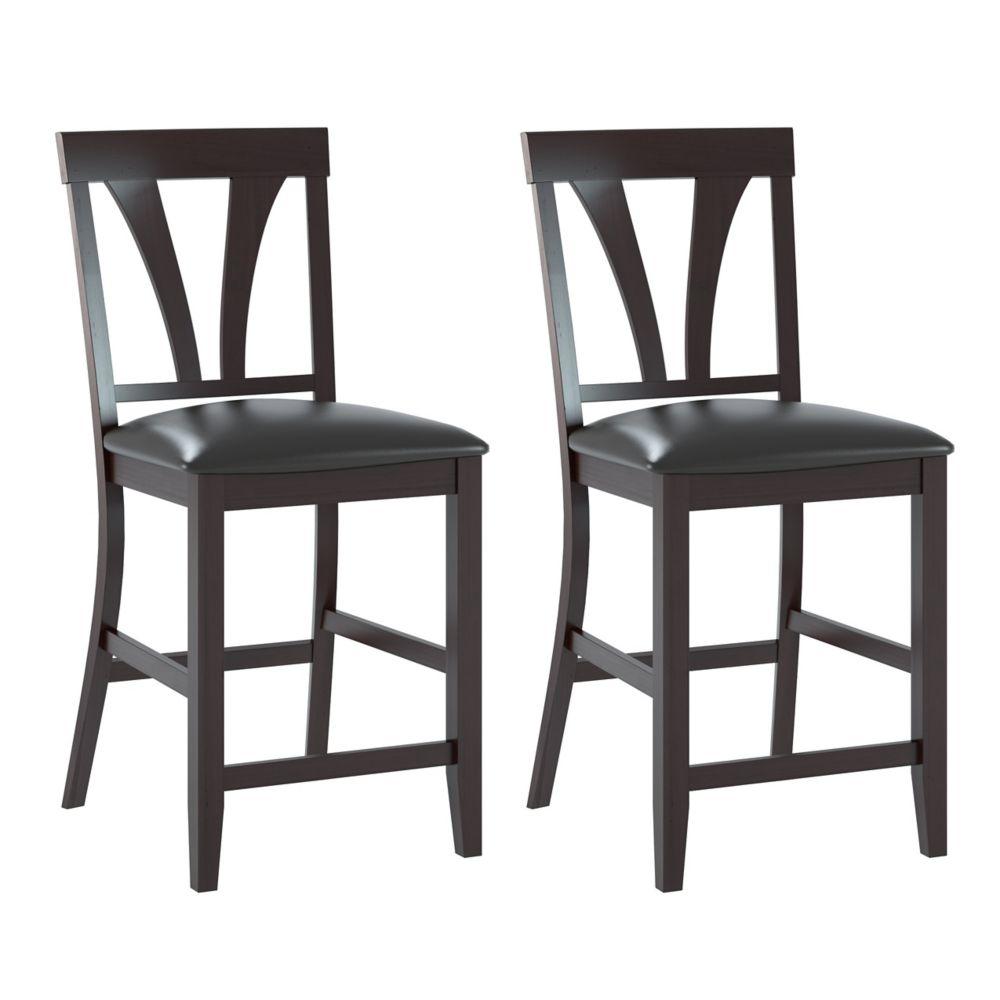 Ensemble de 2 chaises de salle à manger en cuir reconstitué