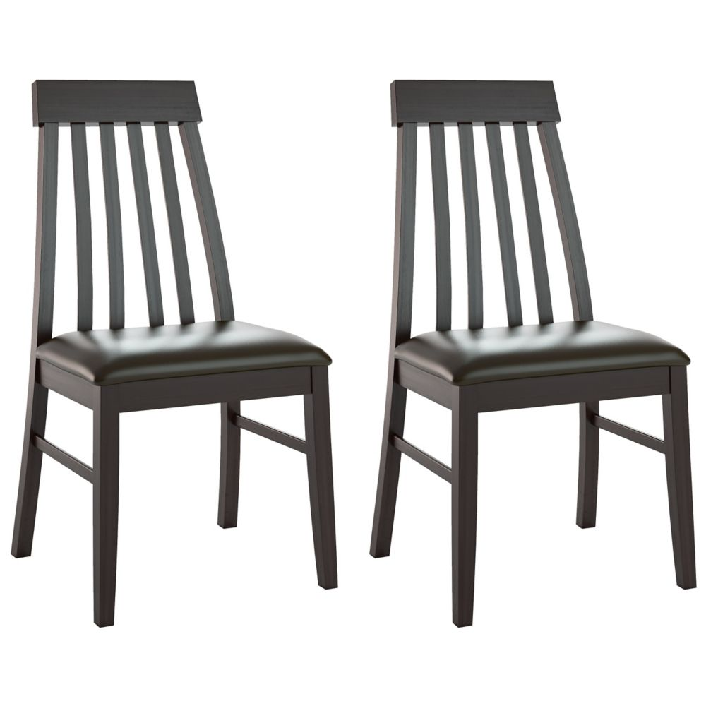 Dining Collection Tapered Back Dining Chairs In Chocolate Black Bonded Leather, Set Of 2 DKR-609-C in Canada