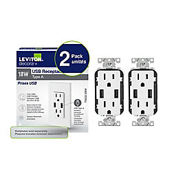 Decora Duplex 3.6 amp USB Charger and 15 amp Tamper Resistant Receptacle in White (2-Pack)