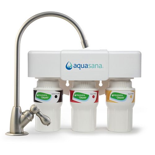 Aquasana 3-Stage Under Counter Water Filtration System with Faucet in Brushed Nickel