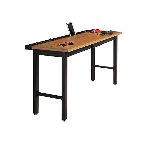 72-inch Bamboo Work Bench with Power Bar