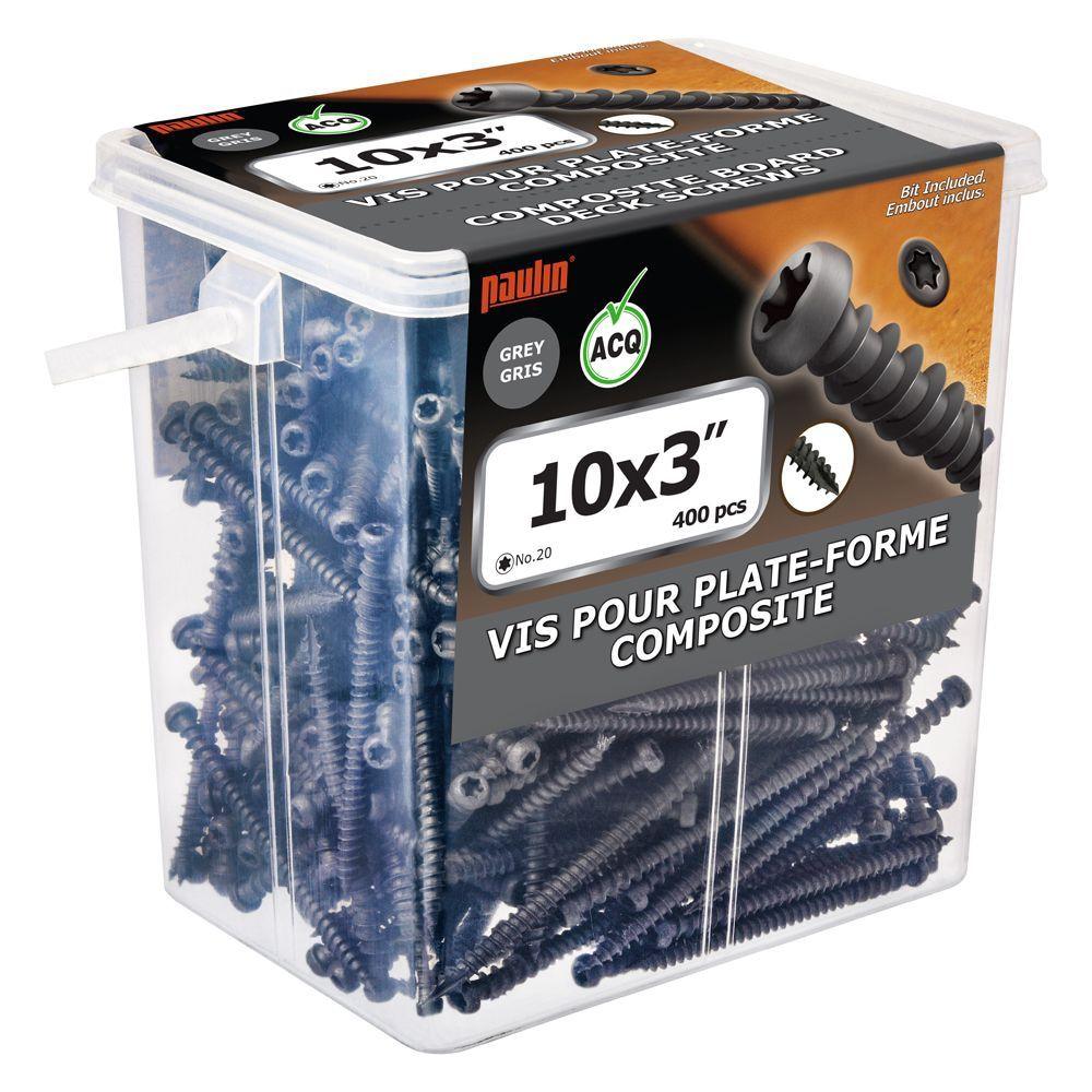 Composite Screw 10 3 Inch Grey