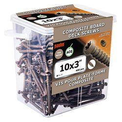 Paulin #Vis composite à tête cylindrique Star Drive de 10 x 3 po à tête cylindrique de couleur havane - 400 pièces