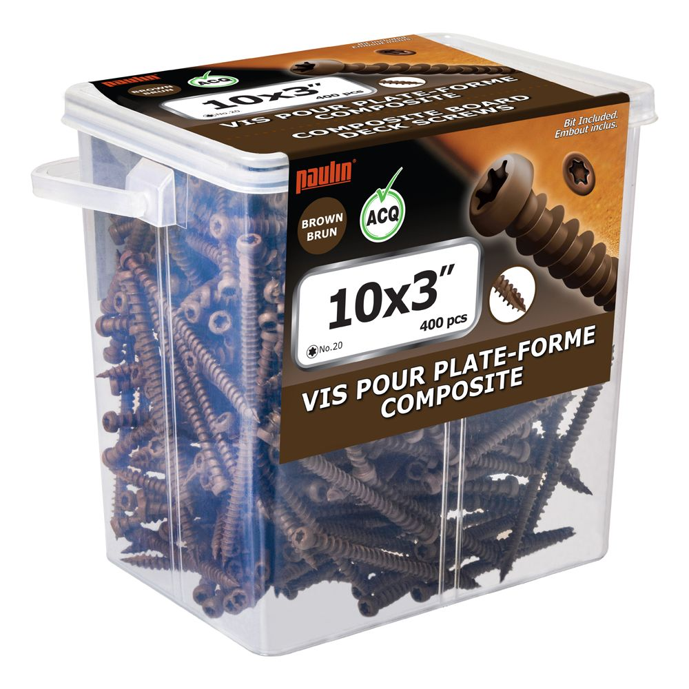 Composite Screw 10 3 Inch Brown