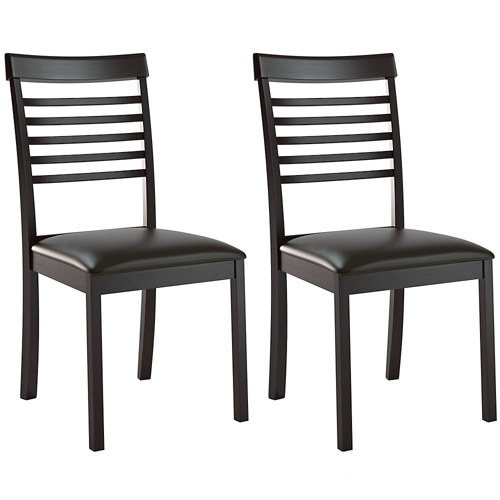 Chaise sans accoudoirs à dossier à traverses, bois massif marron, siège similicuir marron, ens. de 2
