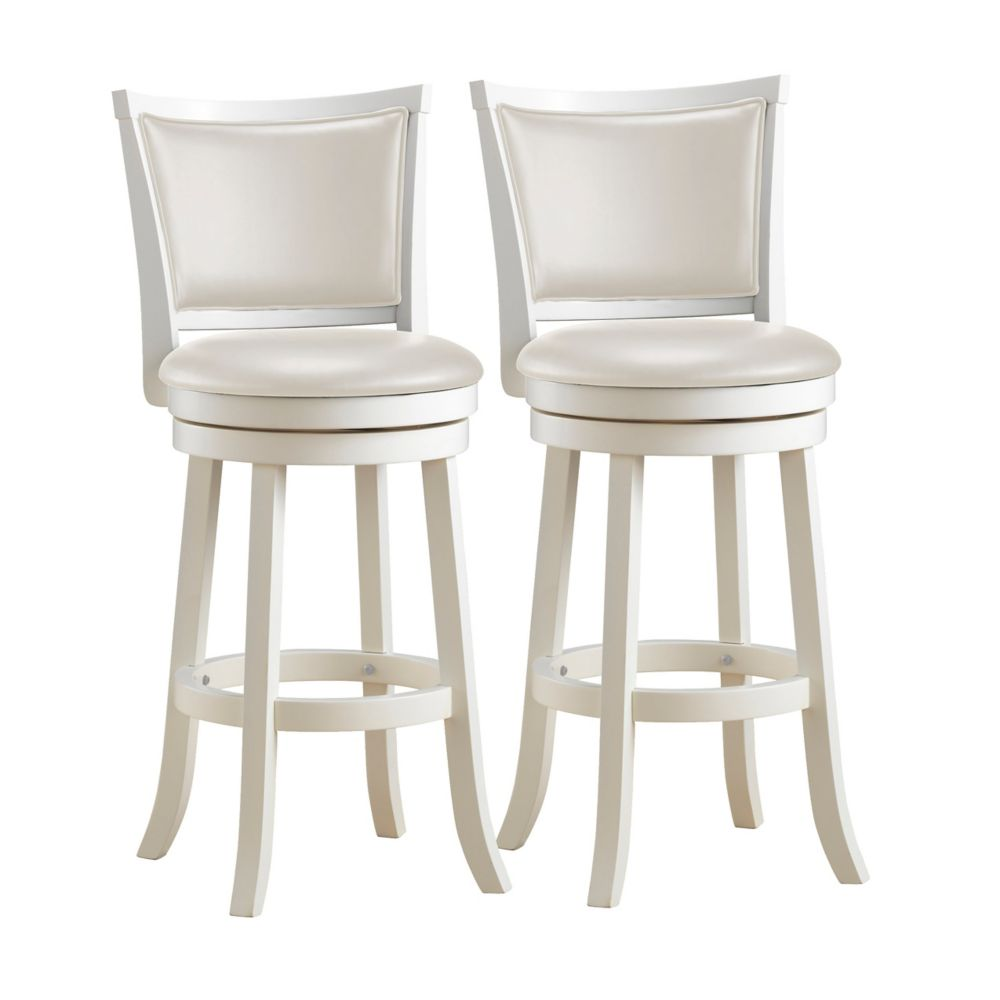Woodgrove 43 Inch White Wash Wood Barstool With Leatherette Seat, Set Of 2 DWG-119-B Canada Discount