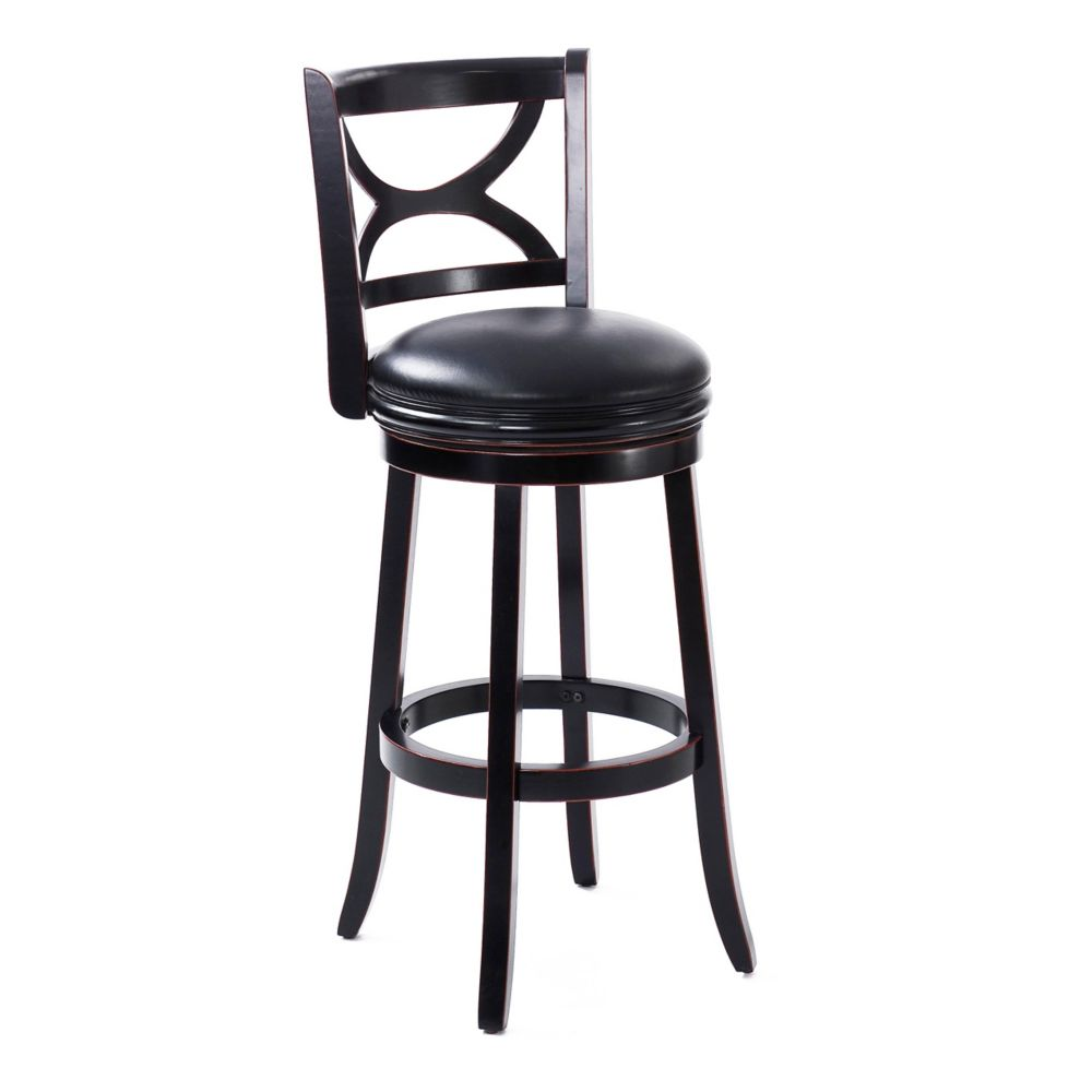 Woodgrove Scroll Back Design 43 Inch  Wood Barstool In Dark Cappuccino And Black Leatherette