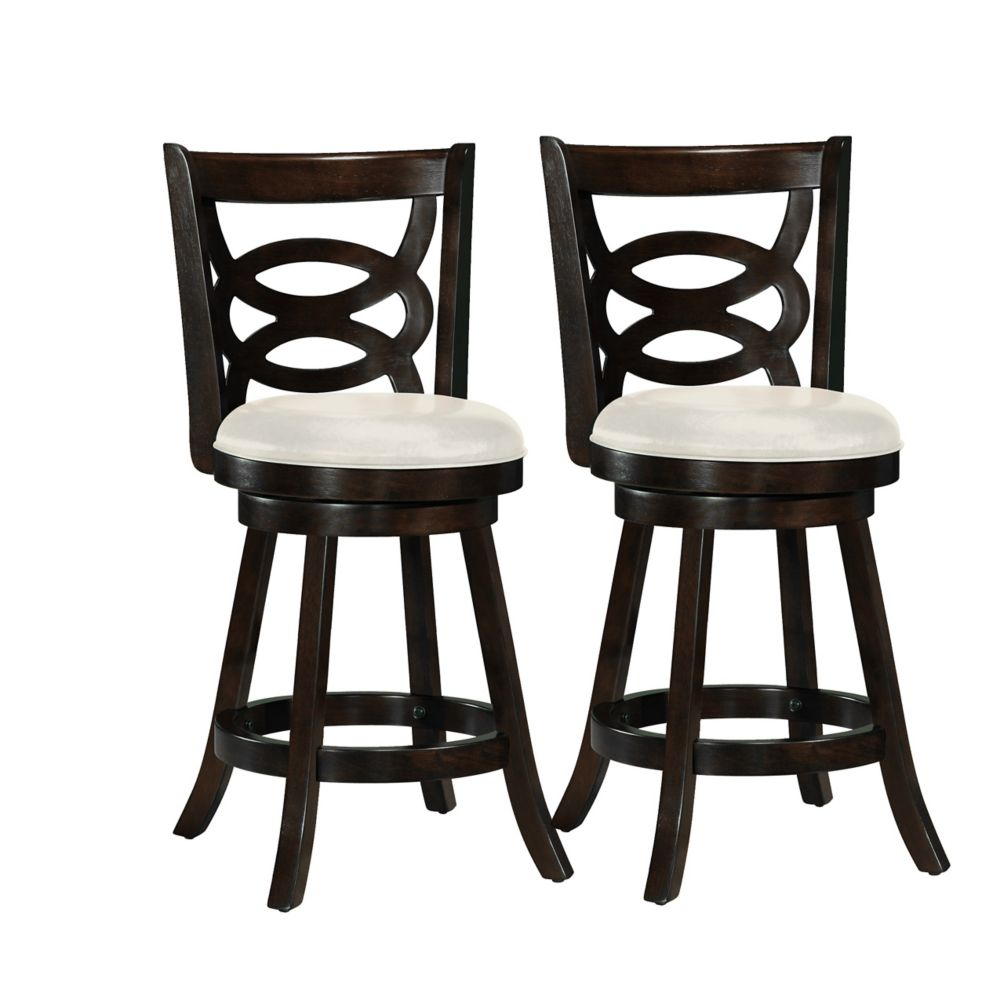 Woodgrove 38 Inch  Cappuccino Wood Barstool With Leatherette Seat, Set Of 2