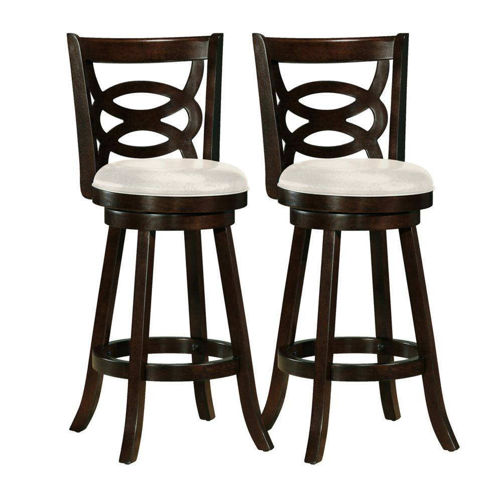 Woodgrove 43 Inch  Cappuccino Wood Barstool With Leatherette Seat, Set Of 2