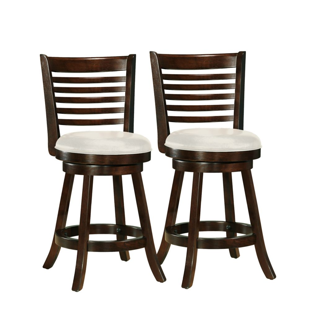Woodgrove 38 Inch Cappuccino Wood Barstool With Leatherette Seat, Set Of 2 DWG-914-B in Canada