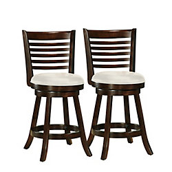 Corliving Woodgrove Solid Wood Brown Low Back Armless Bar Stool with White Faux Leather Seat - (Set of 2)