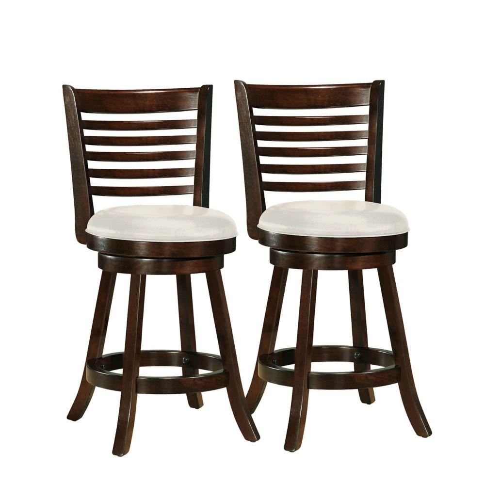 Ensemble de 2 tabourets de bar Woodgrove 38po couleur cappuccino