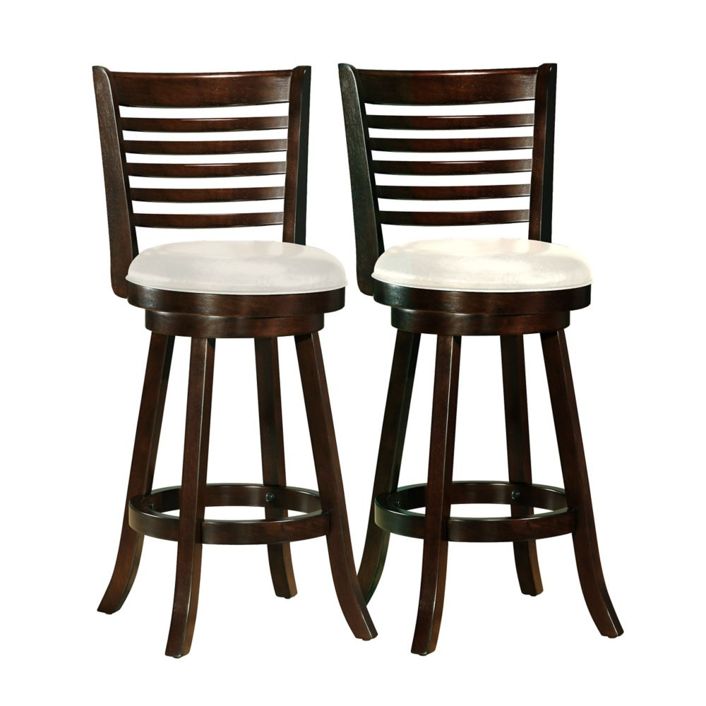 corliving woodgrove solid wood brown low back armless bar stool with white faux leather seat. Black Bedroom Furniture Sets. Home Design Ideas