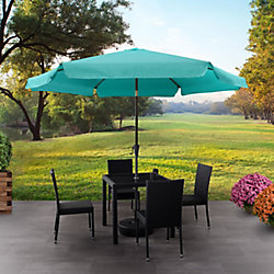 Corliving 10 ft. Round Tilting Turquoise Blue Patio Umbrella