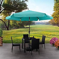Corliving Parasol de patio rond et inclinable bleu turquoise de 10 pieds