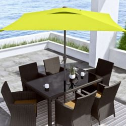 Corliving 9 ft. Square Tilting Lime Green Patio Umbrella