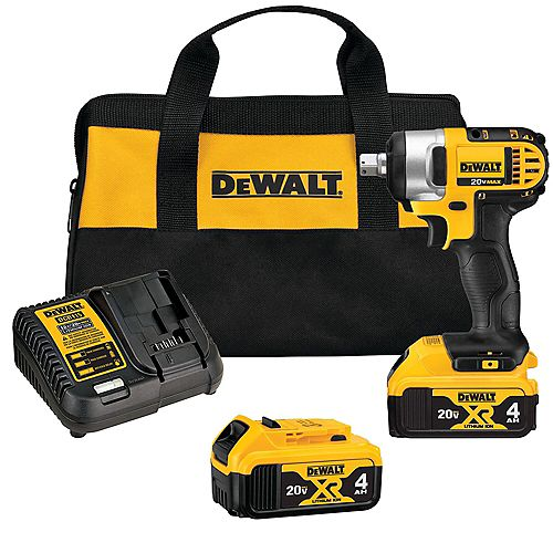 DEWALT 20V MAX Lithium-Ion Cordless 1/2-inch Impact Wrench Kit with (2) Batteries 4Ah, Charger and Case