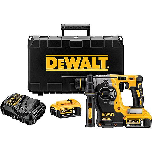 DEWALT 20V MAX XR Li-Ion 1-inch Cordless SDS-plus Brushless L-Shape Concrete/Masonry Rotary Hammer w/ (2) Batteries 5Ah